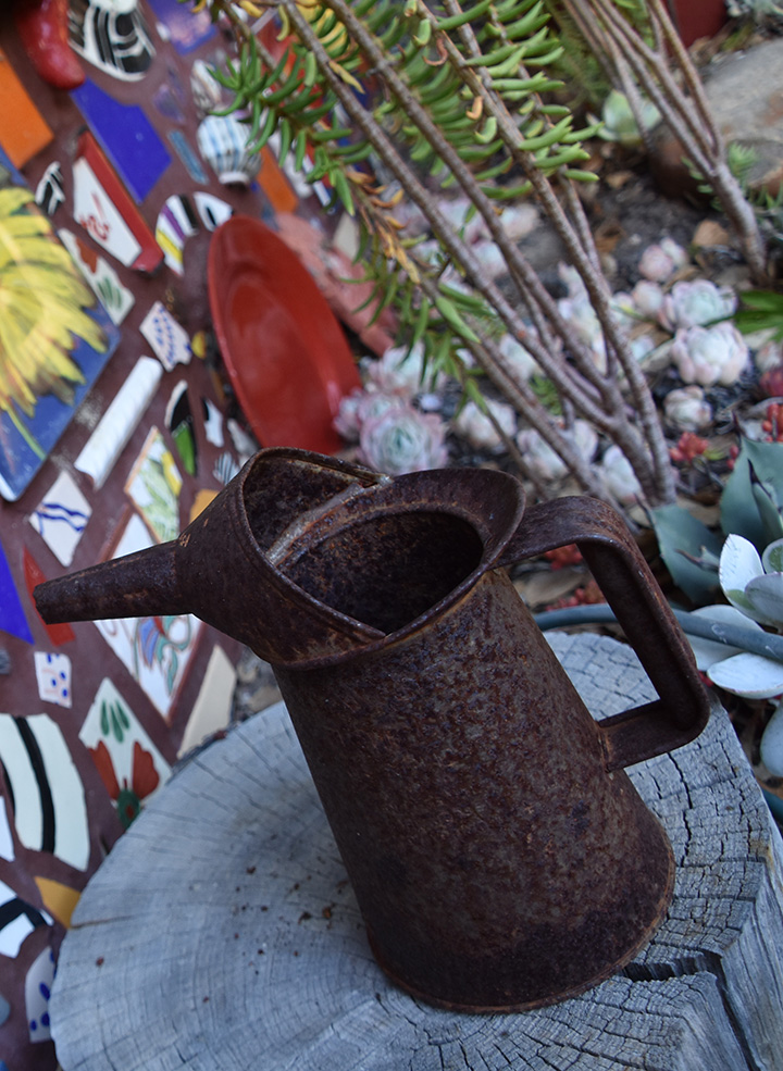 rusted watering can