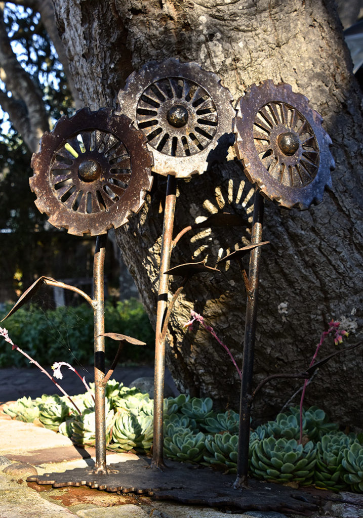 Cast-iron sunflowers sculpture